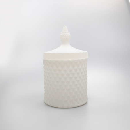 Large 50cl Geo Candle Glass: Frosted White