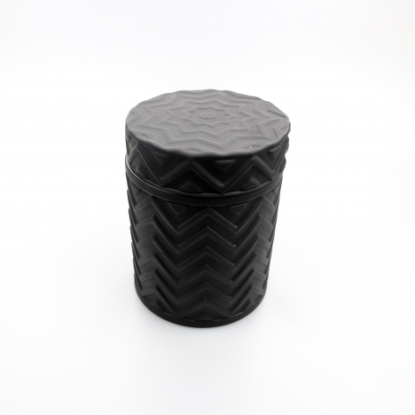 45cl Chevron Candle Glass: Matte Black