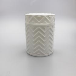 45cl Chevron Candle Glass: Matte White