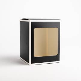 20cl Black Candle Box With White Rim & Window