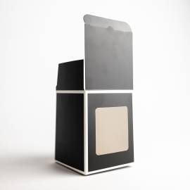 30cl Black Candle Box With White Rim & Window