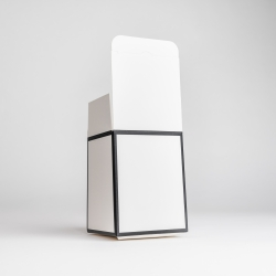 20cl White Candle Box With Black Rim