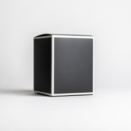 30cl Black Candle Box With White Rim