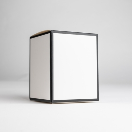 30cl White Candle Box With Black Rim