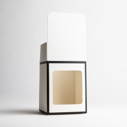 20cl White Candle Box With Black Rim With Window