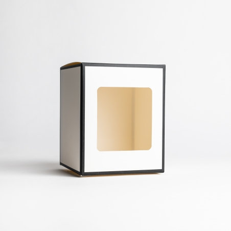 30cl White Candle Box With Black Rim & Window