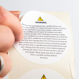 Pillar Candle Safety Label