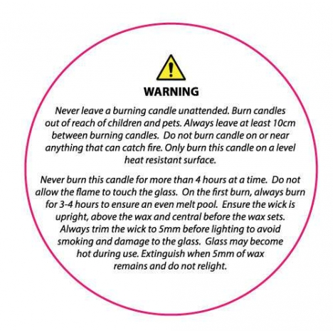 Candle Safety Label - Clear