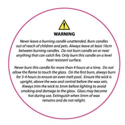 Candle Safety Label - White